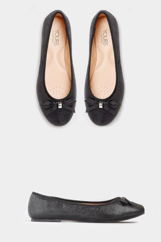 Black Vegan Faux Snakeskin Bow Ballerina Pumps in Extra Wide Fit