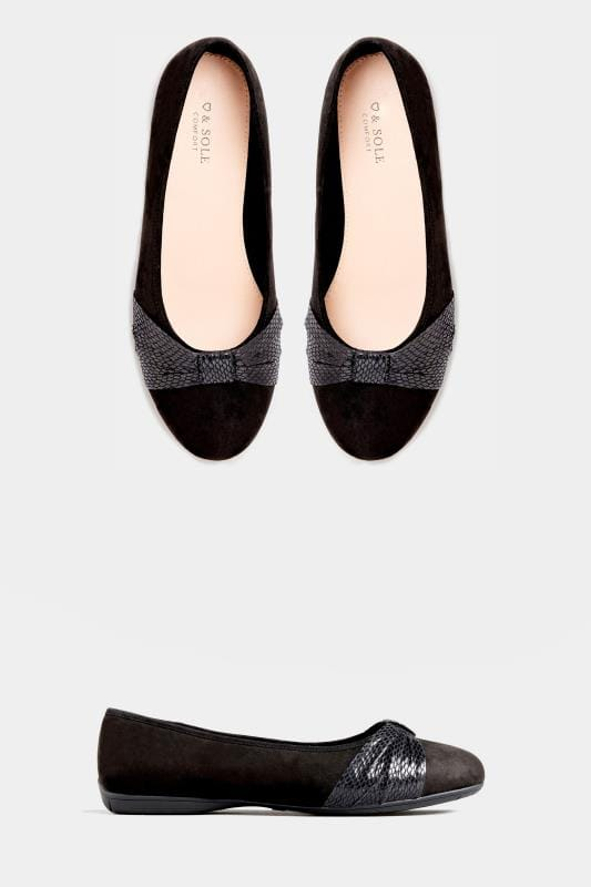 Black Faux Suede Snake Print Ballerina Pumps In Extra Wide Fit