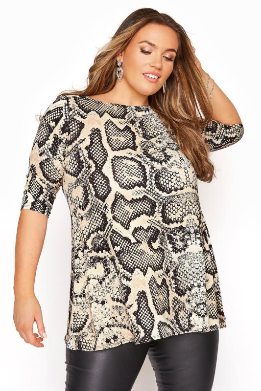 Plus Size  Beige Snake Print Tunic Top