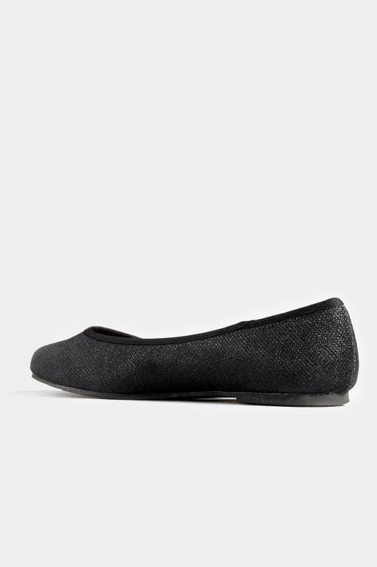 Black Glitter Ballerina Pumps In Extra Wide Fit