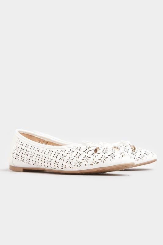 White Laser Cut Ballerina Pumps In Extra Wide Fit