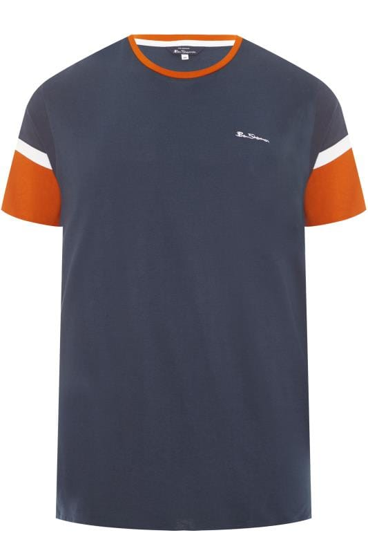 T-Shirts BEN SHERMAN Navy & Orange Colour Block T-Shirt 201453
