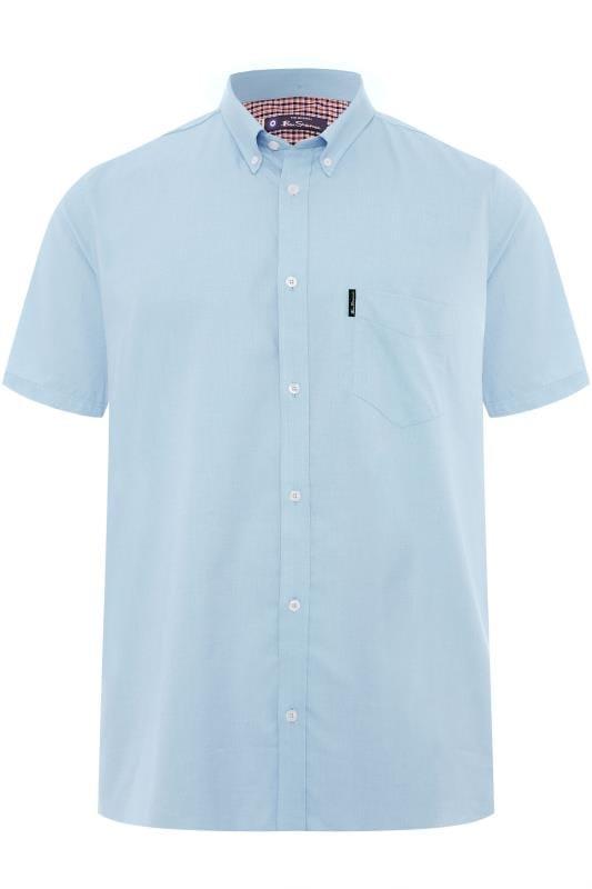 BEN SHERMAN Light Blue Short Sleeved Oxford Shirt