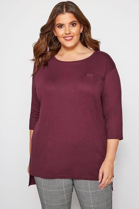 Plus Size Jersey Tops Berry 3/4 Length Sleeve Mock Pocket Top