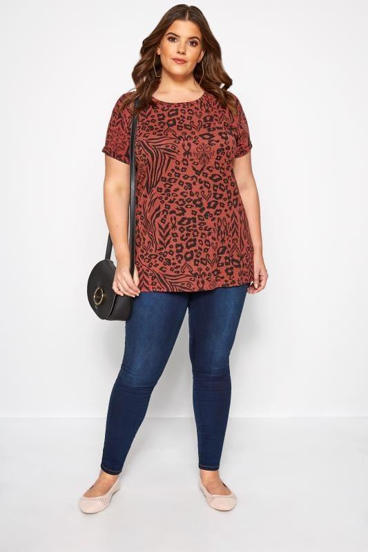 Rust Mixed Animal Print Mock Pocket T-Shirt