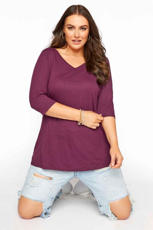 Plus Size  Berry Purple V-Neck T-shirt