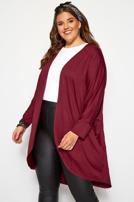 Plus Size Knitted Cardigans Berry Red Cocoon Cardigan