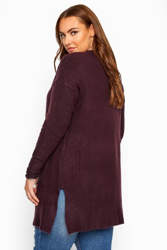 Berry Ribbed Trim Pocket Cardigan