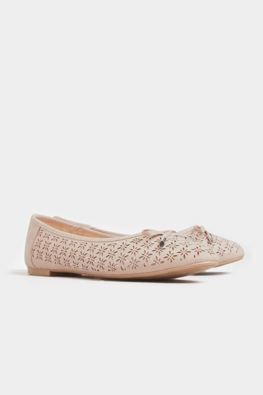Blush Pink Laser Cut Stud Ballerina Pumps In Extra Wide Fit