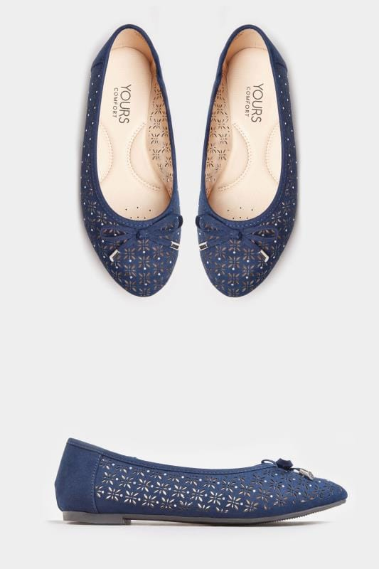 Navy Laser Cut Stud Ballerina Pumps In Extra Wide Fit