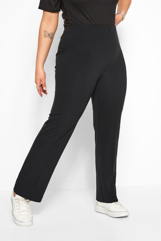 Plus Size Bootcut Trousers Bestseller Black Pull On Ribbed Bootcut Trousers - PETITE