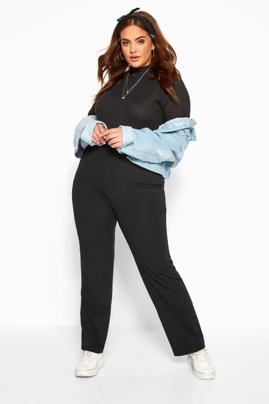Plus Size Bootcut Trousers Bestseller Black Pull On Ribbed Bootcut Trousers