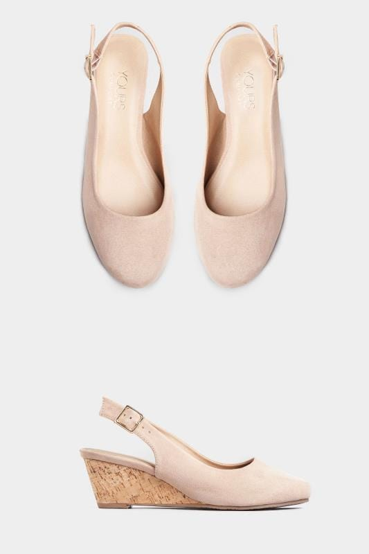 Wide Fit Wedges Nude Slingback Wedges In Extra Wide Fit