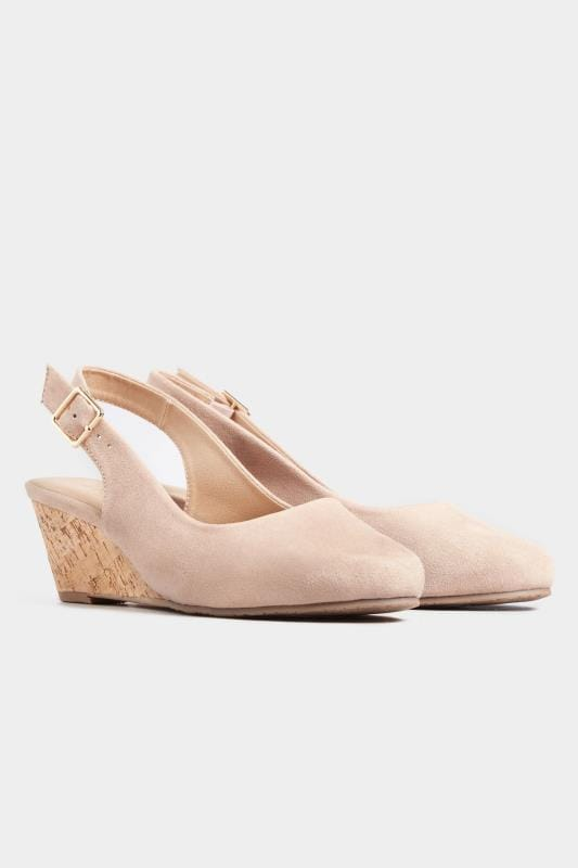 Nude Slingback Wedges In Extra Wide Fit