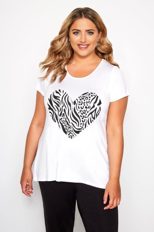 Plus Size T-Shirts SIZE UP White & Black Zebra Heart Print T-Shirt