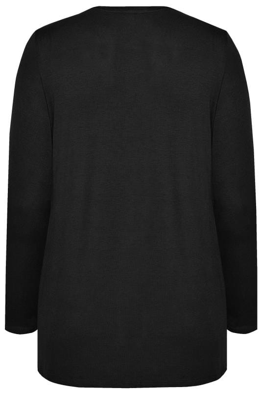 Black Scoop Neck Jersey Top