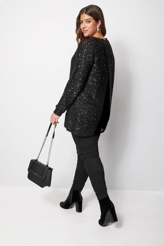 Czarny sweter 2w1 z cekinami