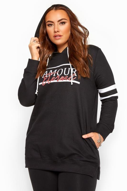 Plus Size Hoodies & Jackets Black 'Amour Eternal' Slogan Hoodie