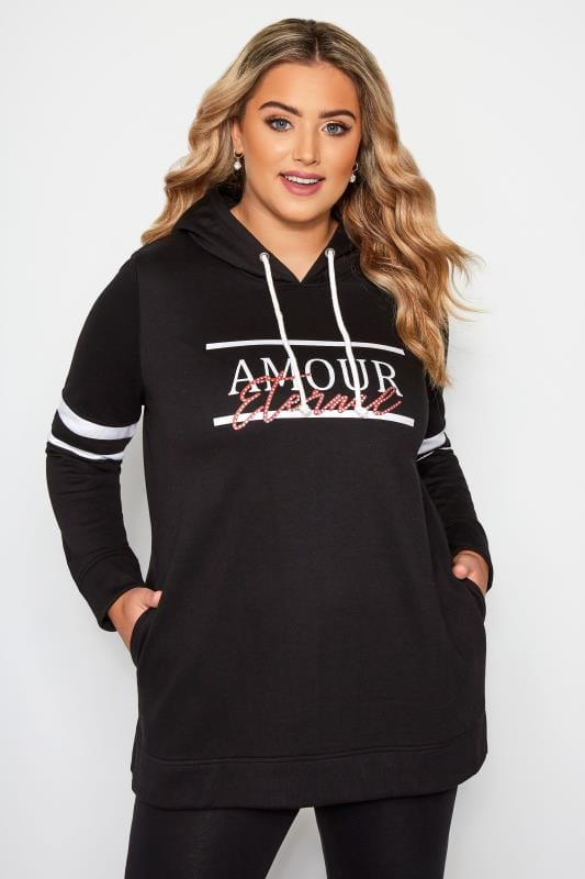 Plus Size Hoodies & Jackets Black 'Amour Eternal' Slogan Hoodie