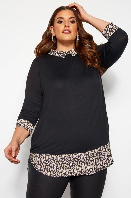 Plus Size Blouses Black & Animal Print 2 in 1 Top