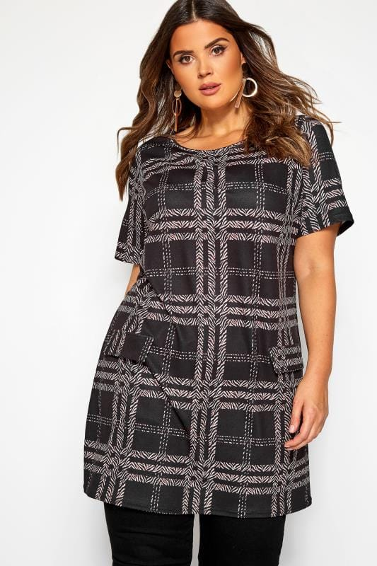 Большие размеры | Tunics Black Animal Check Tunic Dress