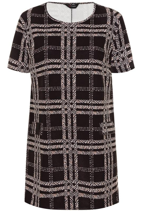 Black Animal Check Tunic Dress