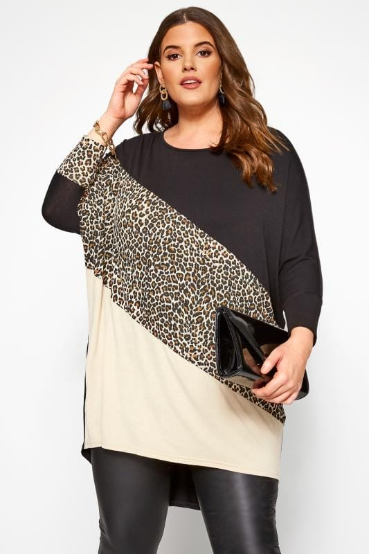 Plus Size Jersey Tops Black Animal Colour Block Extreme Dipped Hem Top