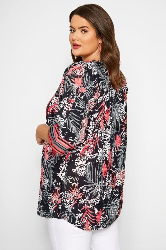 Black Animal & Palm Leaf Stripe Kimono