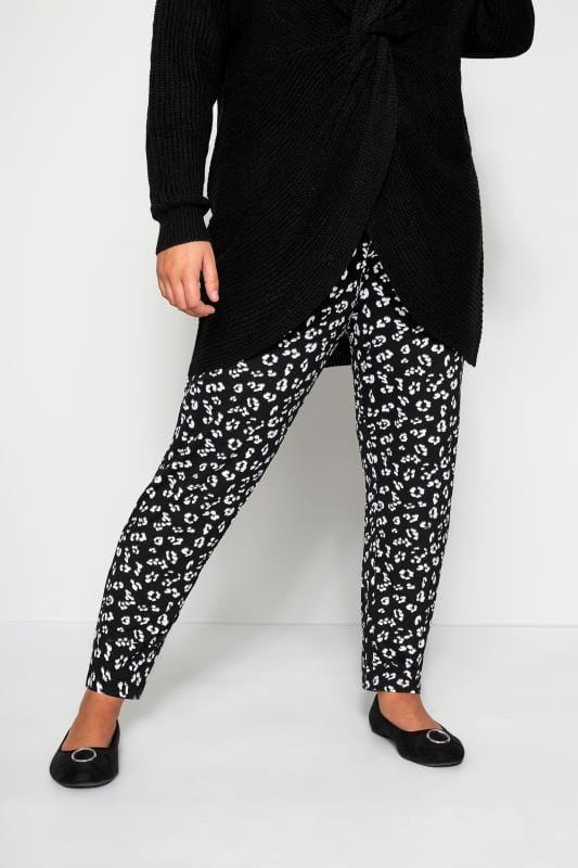 Plus Size Harem Pants Black Animal Print Harem Trousers