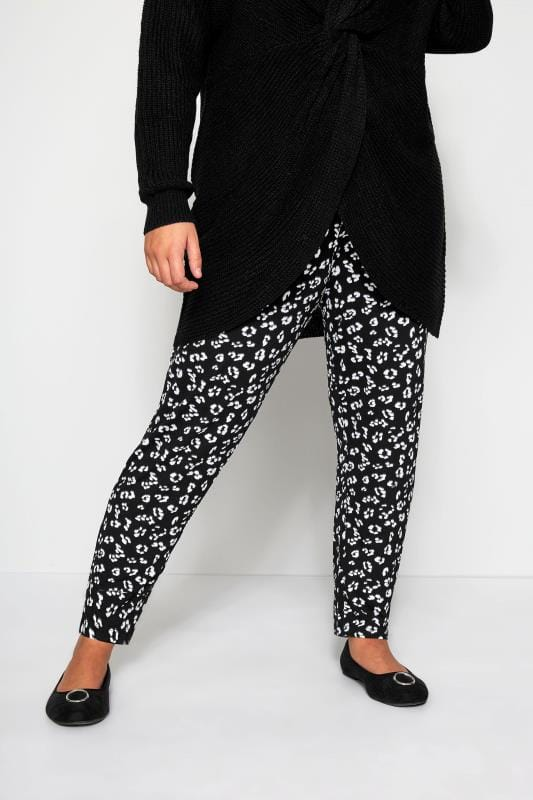 Harem Trousers dla puszystych Black Animal Print Harem Trousers