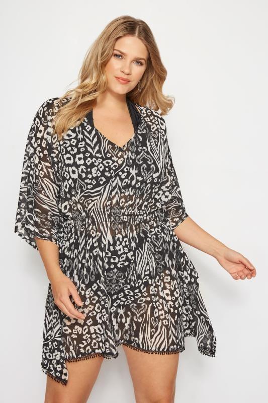 günstigster Preis zarte Farben zu Füßen bei Strandkleid mit Animal-Druck - Schwarz, große Größen 44 bis 60