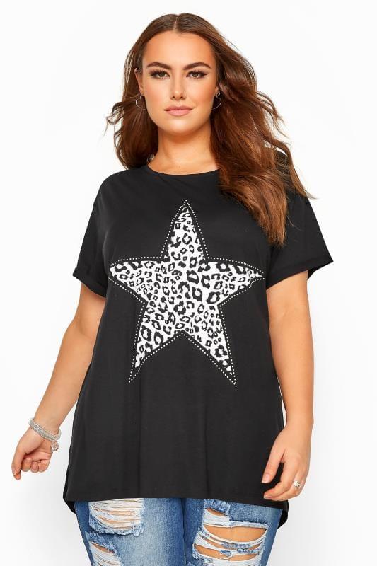 Plus Size T-Shirts Black Animal Print Star Studded Top