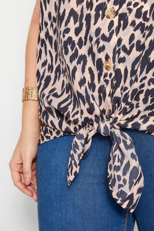 Pink Animal Tie Front Blouse