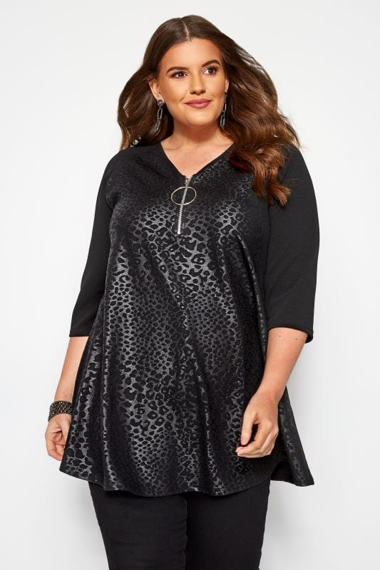 Plus Size Day Tops Black Animal Wet Look Zip Tunic