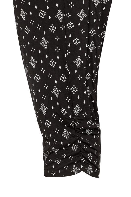 Black Aztec Geo Cropped Harem Trousers