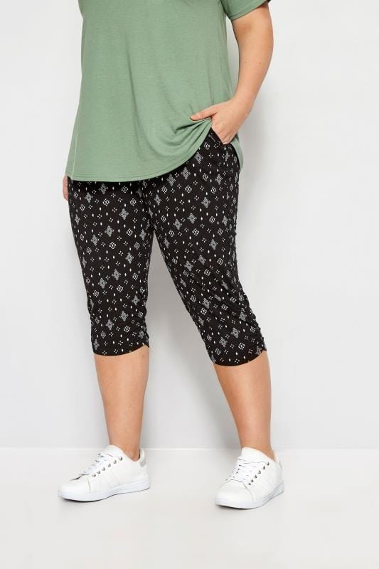 Plus Size Cropped Pants Black Aztec Geo Cropped Harem Trousers