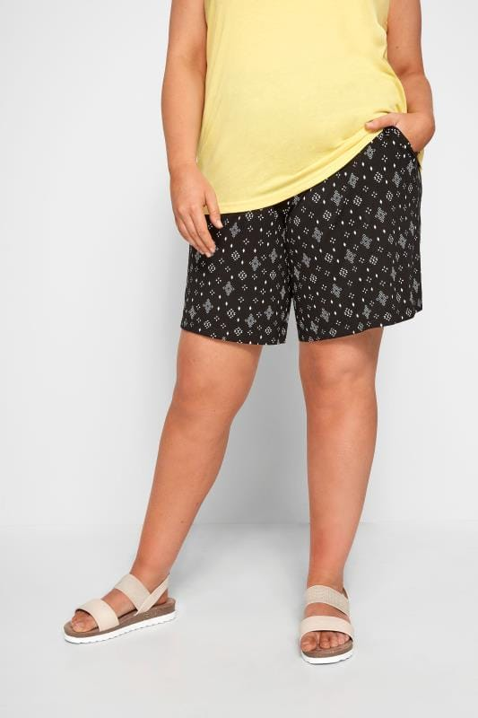 Plus Size Jersey Shorts Black Aztec Jersey Shorts