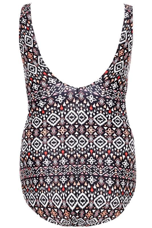 Black Aztec Lace Up Swimsuit