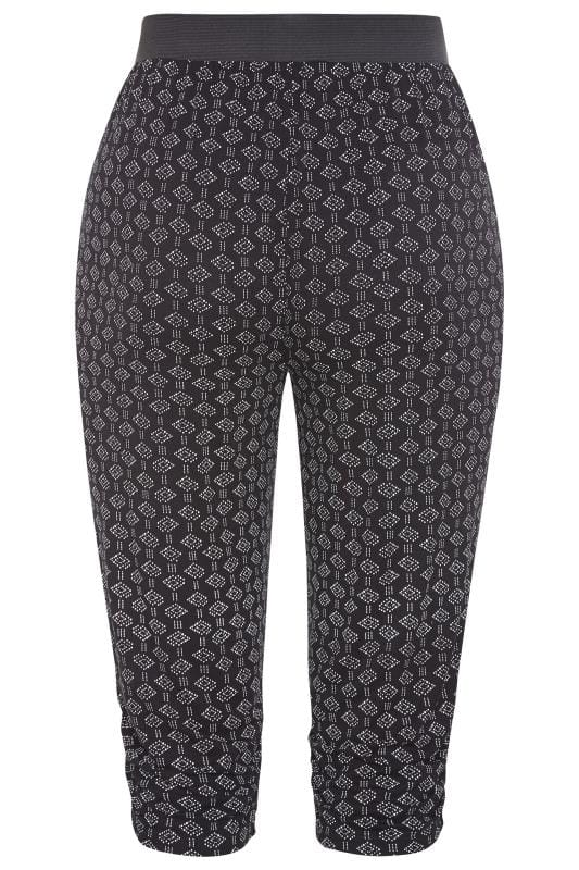 Black Aztec Print Cropped Trousers