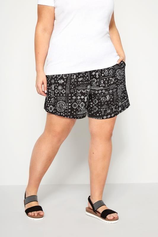 Black Aztec Shorts