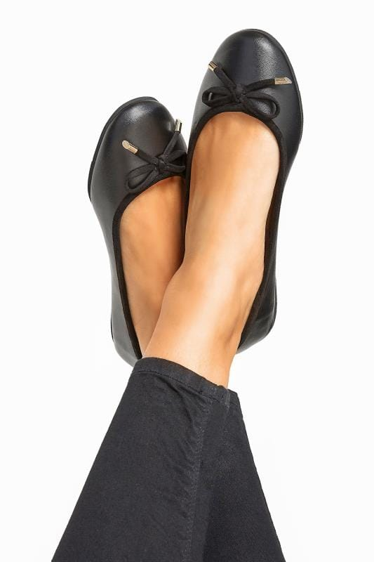 Wide Fit Flat Shoes Black Ballerina Pumps In Extra Wide Fit