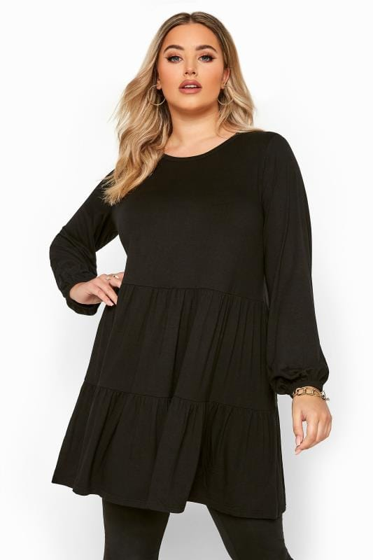 Plus Size Tunics Black Balloon Sleeve Tiered Smock Tunic