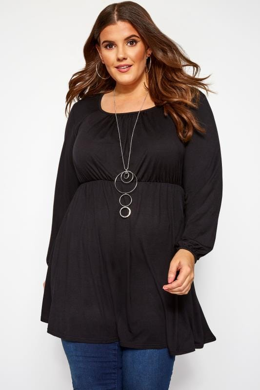 Plus Size Tunics Black Balloon Sleeved Tunic
