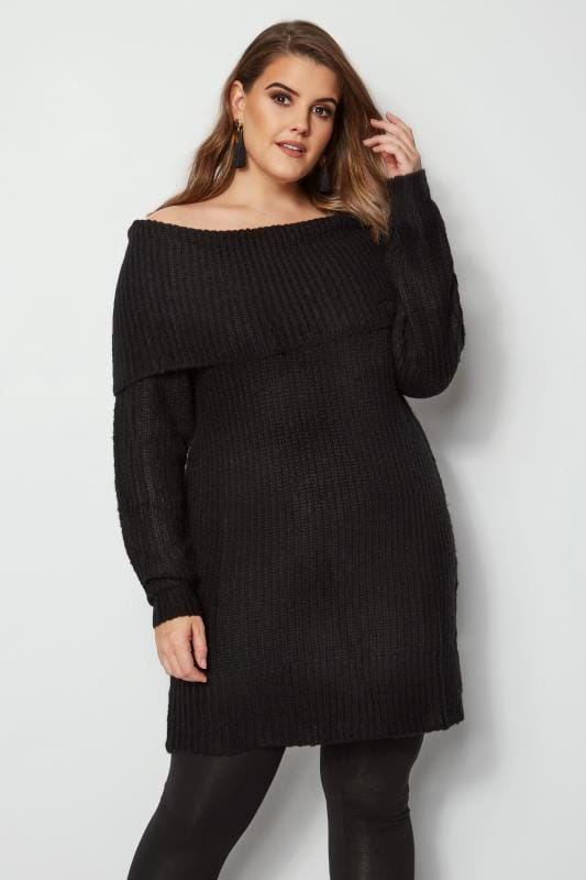 Black Bardot Knitted Jumper