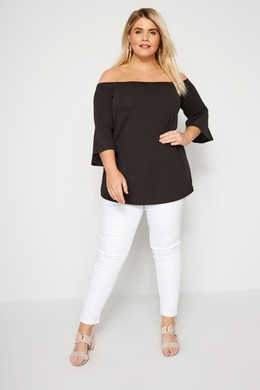 Black Bardot Top With Flute Sleeves