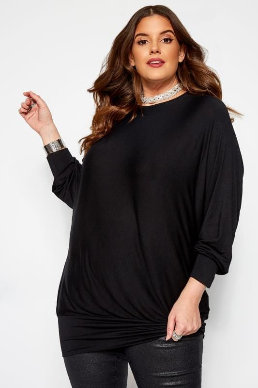 Plus Size Day Tops Black Batwing Bubble Hem Top