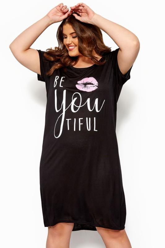 Plus Size Nightdresses & Chemises Black 'BeYOUtiful' Nightdress