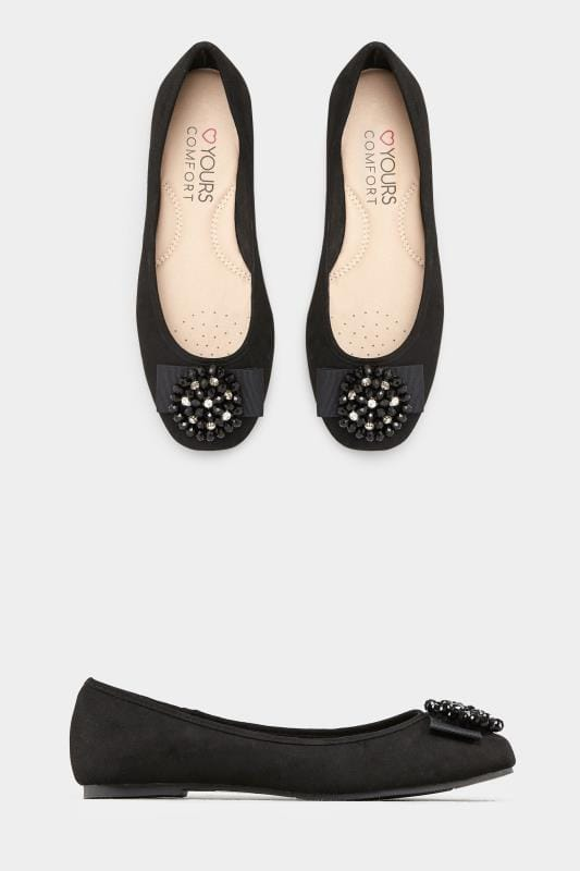 Black Bead Embellished Ballerina Pumps In Extra Wide Fit