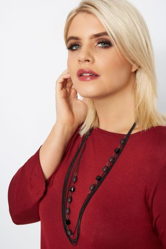 Большие размеры | Plus Size Jewellery Black Bead Layered Necklace