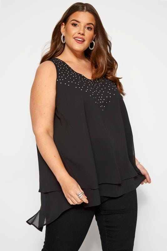Plus Size Party Tops Black Diamante Double Layer Chiffon Top